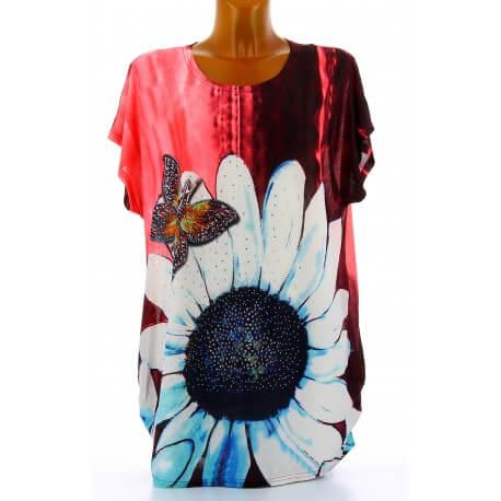 Tee shirt drapé strass tunique grande taille corail PAQUERETTE
