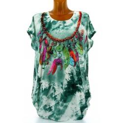 Tee shirt drapé strass tunique grande taille vert CHEROKEE