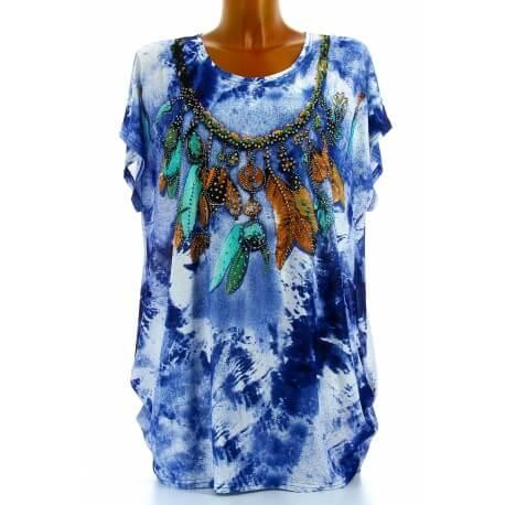 Tee shirt drapé strass tunique grande taille bleu CHEROKEE