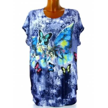 Tee shirt drapé strass tunique grande taille bleu PRAIRIE