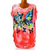Tee shirt drapé strass tunique grande taille corail PRAIRIE