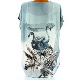 Tee shirt drapé strass tunique grande taille gris CAMARGUE