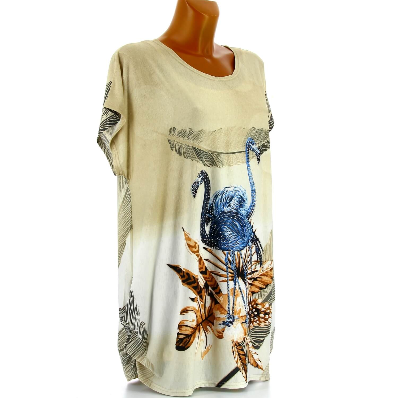Tee shirt drapé strass tunique grande taille beige CAMARGUE 1880f79f4f5