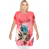 Tee shirt drapé strass tunique grande taille corail CAMARGUE