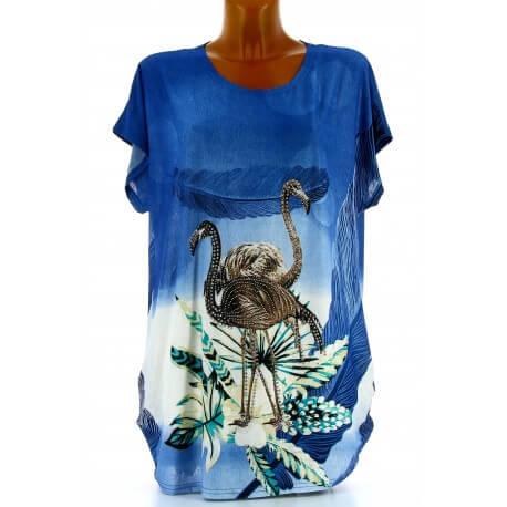 Tee shirt drapé strass tunique grande taille bleu CAMARGUE