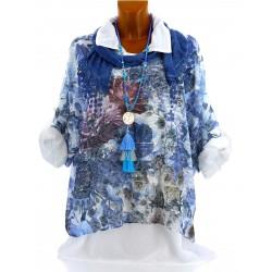 Chemise+tunique+foulard dentelle bohème grande taille bleu MARGOT