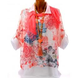 Chemise+tunique+foulard dentelle bohème grande taille corail MARGOT