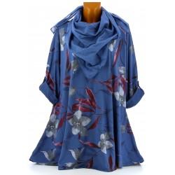 Tunique longue + foulard bohème grande taille bleu jean ROMANO