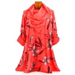 Tunique longue + foulard bohème grande taille corail ROMANO