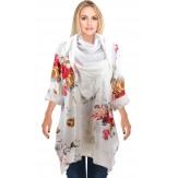 Tunique longue + foulard bohème grande taille blanc PALERMO
