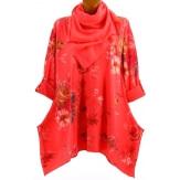 Tunique longue + foulard bohème grande taille corail  PALERMO