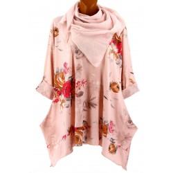 Tunique longue + foulard bohème grande taille rose PALERMO