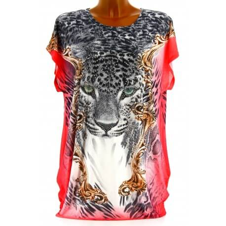 Tee shirt drapé strass tunique grande taille corail PANTHERE