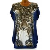Tee shirt drapé strass tunique grande taille bleu PANTHERE