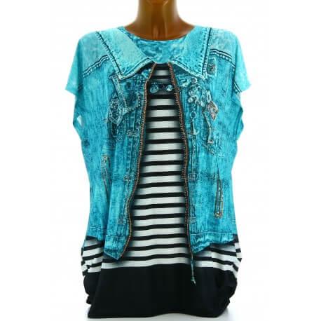 Tee shirt drapé strass tunique grande taille turquoise CACHOU