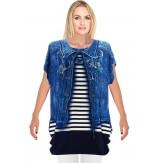 Tee shirt drapé strass tunique grande taille bleu CACHOU