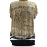Tee shirt drapé strass tunique grande taille taupe CACHOU