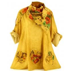 Tunique chemise + écharpe bohème grande taille safan MARINELA