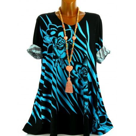 Tunique longue grande taille bohème chic turquoise SAVANA