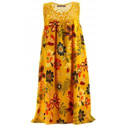 Robe été bohème dentelle grande taille moutarde MARGUERITE Robe été femme