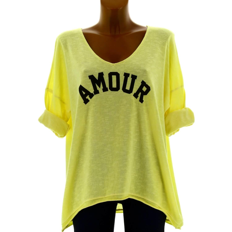 Tunique Femme Amour Jaune Grande Bohème Taille Tee Shirt XuwOkTPZi