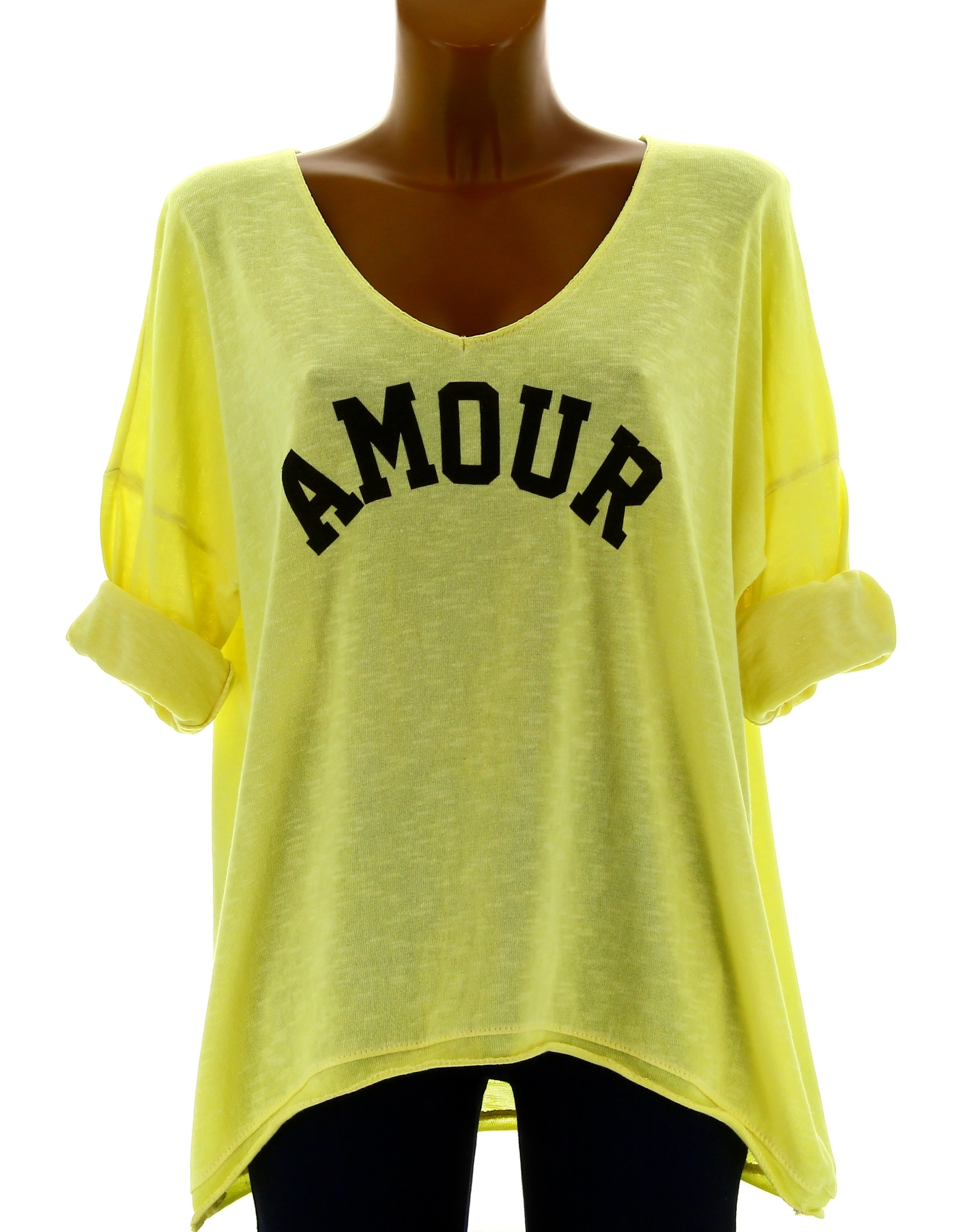 tee shirt femme tunique boh me grande taille jaune amour. Black Bedroom Furniture Sets. Home Design Ideas