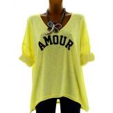 Tee shirt femme tunique bohème grande taille jaune AMOUR