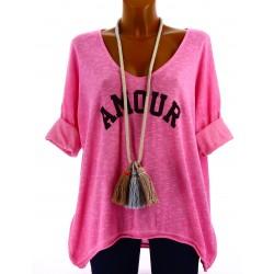 Tee shirt femme tunique bohème grande taille fushia AMOUR