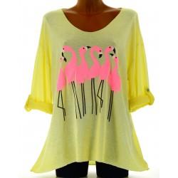 Tunique tee shirt coton bohème grande taille jaune FLAMINGO