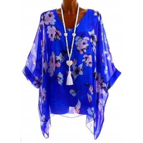 Tunique poncho soie bohème chic grande taille bleu royal  MIRANDA