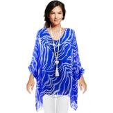 Tunique poncho soie bohème chic grande taille bleu royal PAULINA