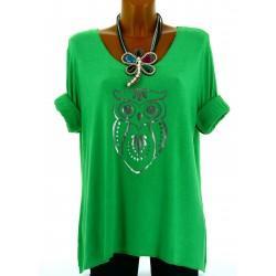 Tee shirt femme bohème grande taille vert HULOTTE
