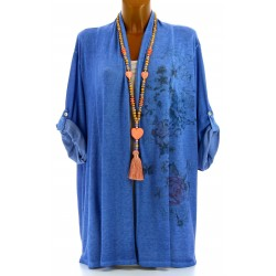 Gilet long veste coton bohème grande taille bleu jean POITOU
