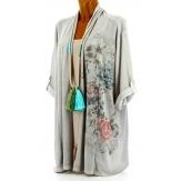 Gilet long veste coton bohème grande taille gris POITOU