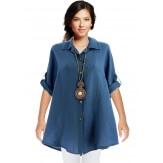 Chemise femme lin été tunique bohème grande taille bleu jean PERIGORD