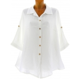 Chemise femme lin été tunique bohème grande taille blanc PERIGORD