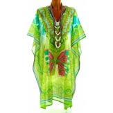 Tunique longue poncho paréo coton ethnique vert PANDORA