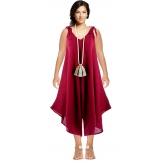 Robe combinaison longue 100% lin bohème prune YONI