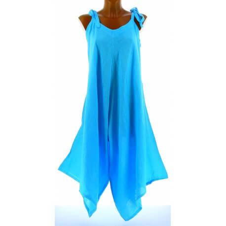 Robe combinaison longue 100% lin bohème turquoise YONI