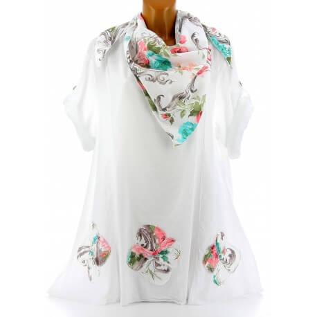 Tunique chemise + écharpe bohème grande taille blanc MARINELA