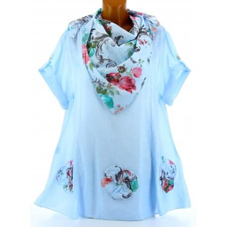 Tunique chemise + écharpe bohème grande taille bleu MARINELA