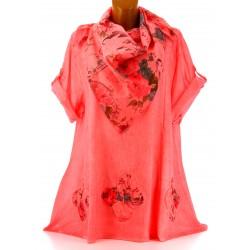 Tunique chemise + écharpe bohème grande taille corail MARINELA