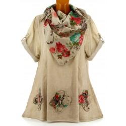 Tunique chemise + écharpe bohème grande taille taupe MARINELA