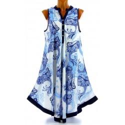 Robe été asymétrique bohème grande taille bleu IVANA