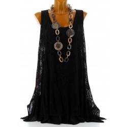 Tunique longue dentelle été robe bohème noir ARMANDA
