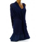 Tunique longue dentelle été robe bohème bleu marine ARMANDA