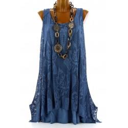 Tunique longue dentelle été robe bohème bleu jean ARMANDA