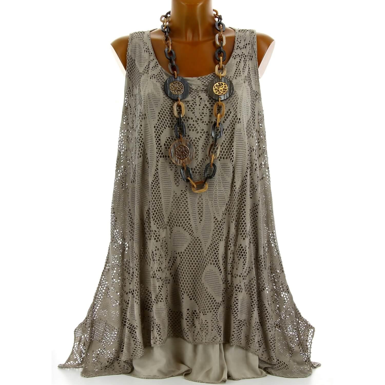 magasin britannique original de premier ordre 60% pas cher Tunique longue dentelle été robe bohème taupe ARMANDA