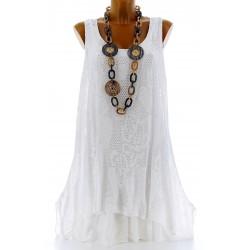Tunique longue dentelle été robe bohème blanc ARMANDA