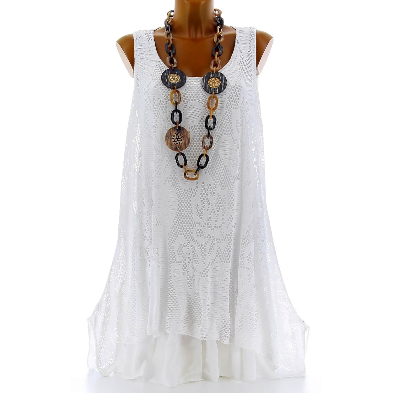 0ab4fdfe45f Tunique longue dentelle été robe bohème blanc ARMANDA